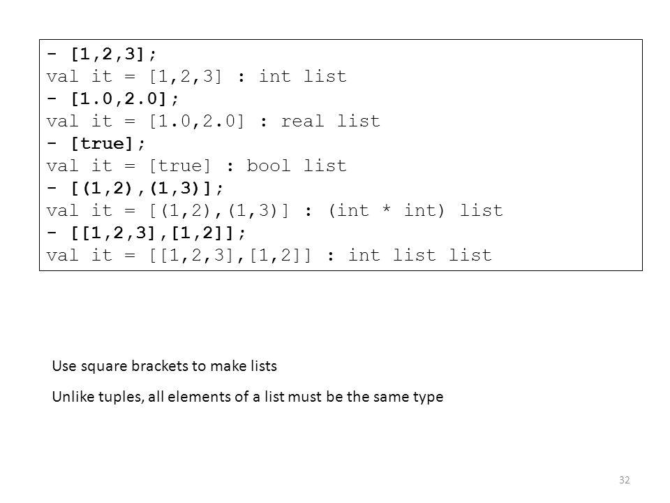 - [1,2,3]; val it = [1,2,3] : int list - [1. 0,2. 0]; val it = [1. 0,2